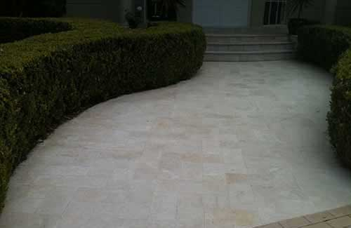 limestone tiles outdoor entrance garden after cleaning