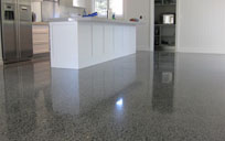 shiny sealed concrete floor