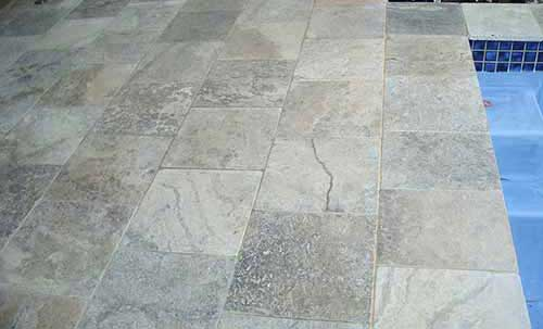 outdoor pool travertine tiles sealing