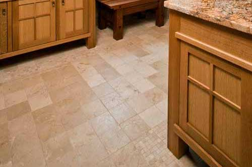 travertine tiles floor bathroom tumbled with mosaic corner wooden cabinets
